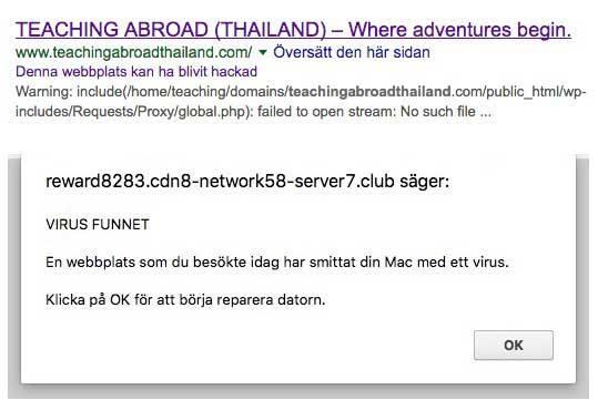 Om en hackad webbplats